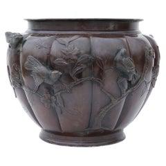 Antique Large Japanese 19th Century Bronze Jardinière Planter Bowl
