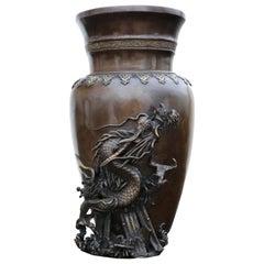 Antique Large Japanese 19th Century Meiji Period Bronze Vase Dragon