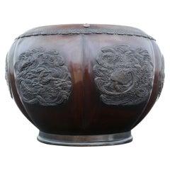 Antique Large Japanese Bronze Jardinière Planter Bowl Meiji Period