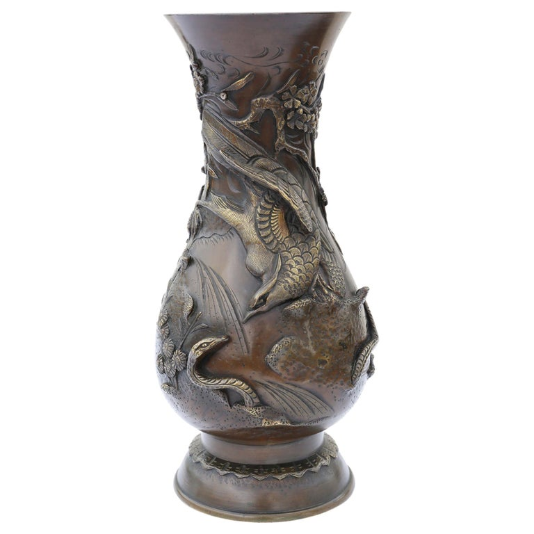 Antique Large Japanese Meiji Period Mixed Metal Bronze Vase For Sale