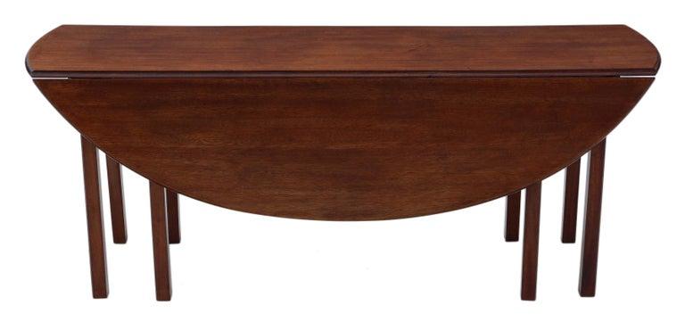 Antique Large Mahogany Gateleg Wake Dining Table For Sale 2
