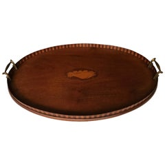 Antique & Large Mahogany Serving Tray with Intarsia Shell Inlay & Brass Handles