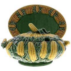 Antique Large Majolica Pottery Ceramic Corn Tureen Box with Tray Platter & Cover