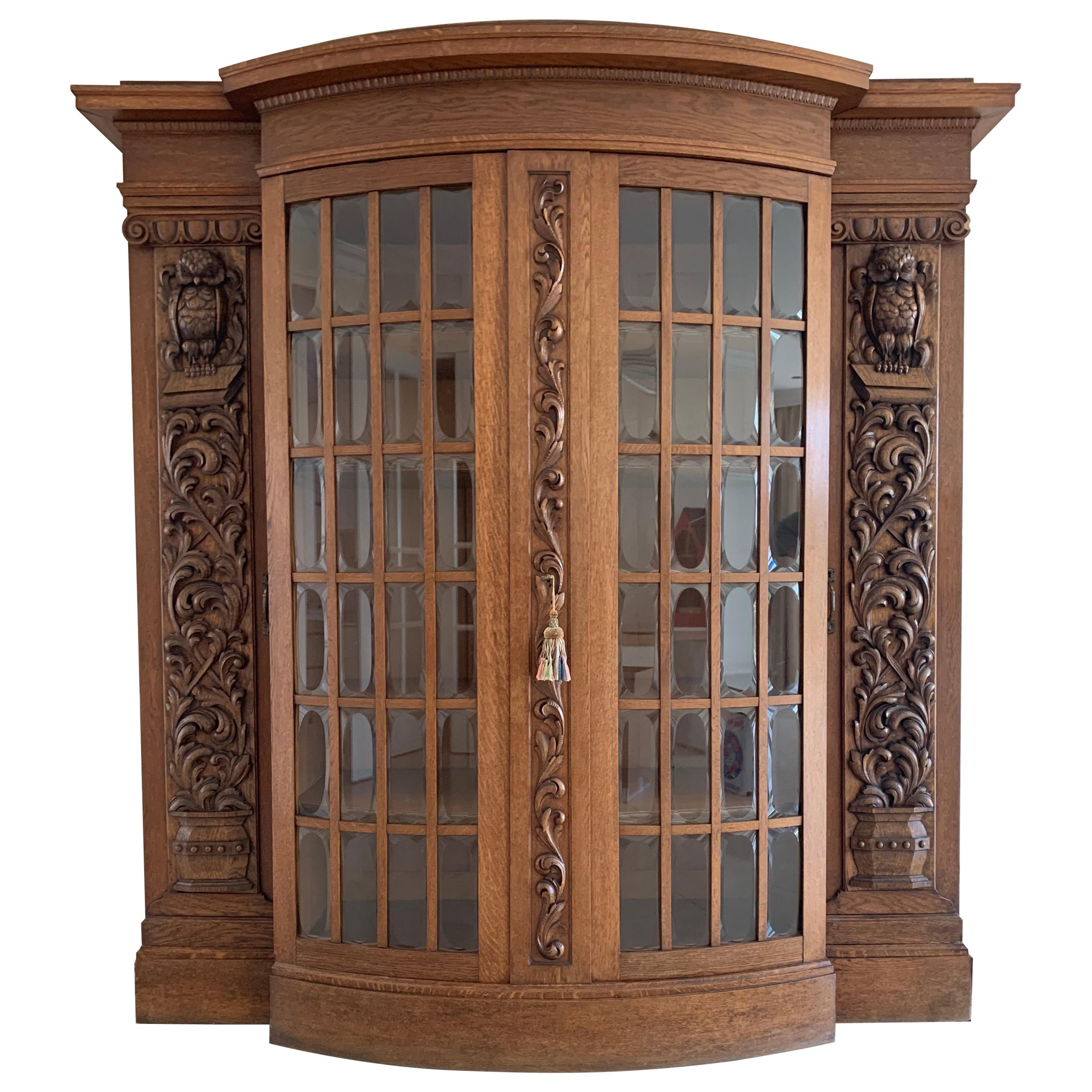 Antique Large & Meaningful Oak Bookcase / Vitrine Cabinet with Owl Sculptures