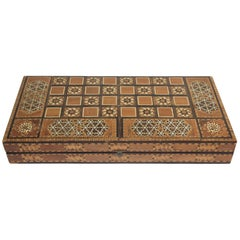 Antique Large Middle Eastern Inlaid Mosaic Backgammon and Chess Game