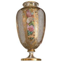Antique Large Moser Vase with Hand Painted Flowers and Gold Gilded Details