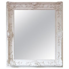 Antique Large Natural Gesso Overmantle or Wall Mirror, Mid 20th Century