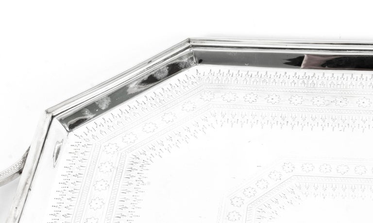 Scottish Antique Large Neoclassical Silver Plated Twin Handled Tray, Late 19th Century For Sale