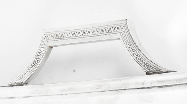 Antique Large Neoclassical Silver Plated Twin Handled Tray, Late 19th Century For Sale 1