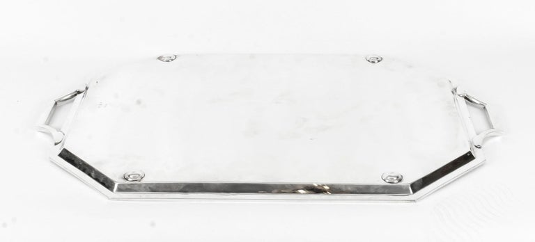 Antique Large Neoclassical Silver Plated Twin Handled Tray, Late 19th Century For Sale 3