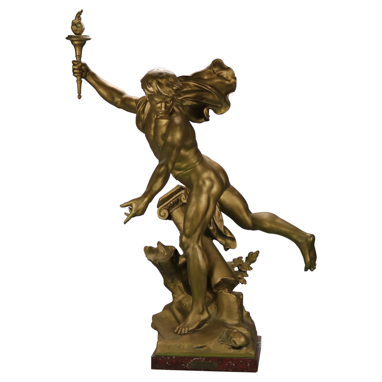 Antique Large Neoclassical Bronzed Sculpture of Apollo Signed Picault, c1890