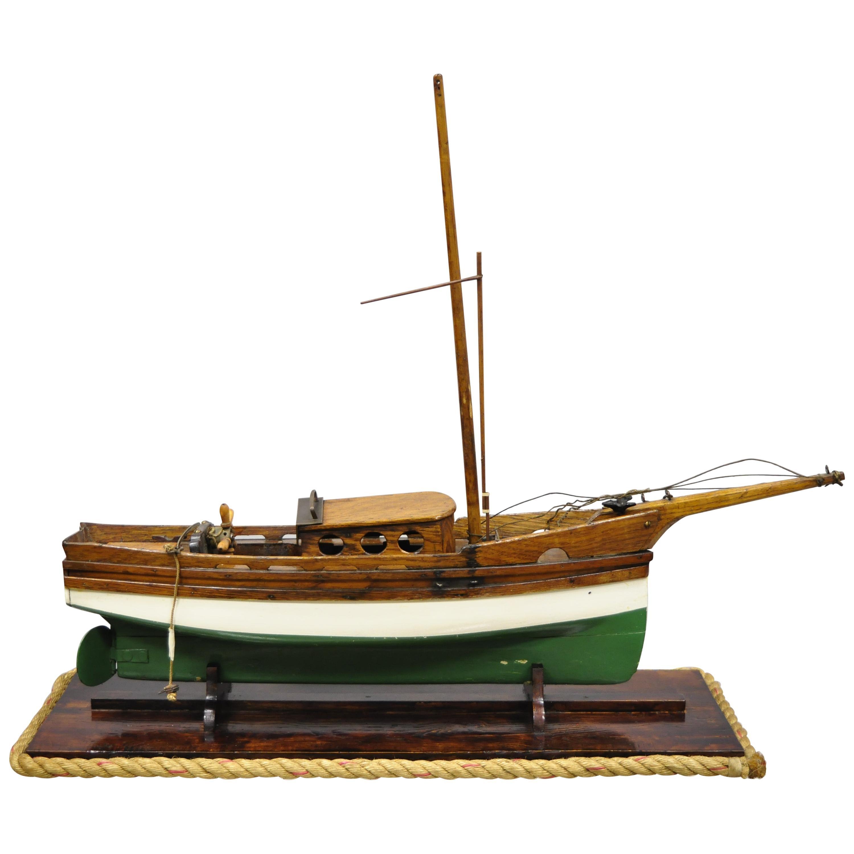 Antique Large Oakwood Model Sailboat Ship Boat on Base Stand
