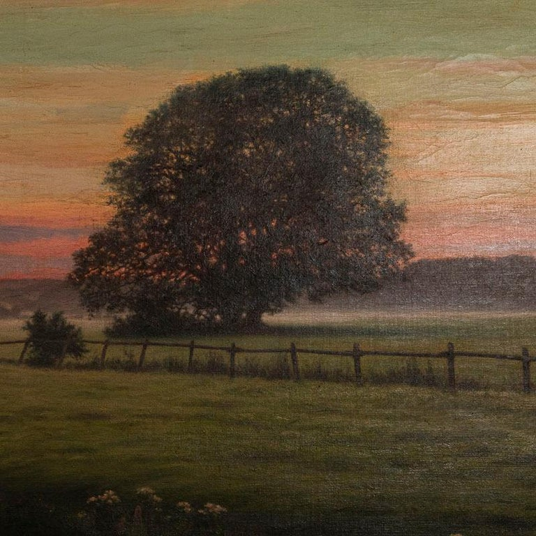 Danish Antique Large Original Oil on Canvas Landscape Painting at Sunset Signed by Adol