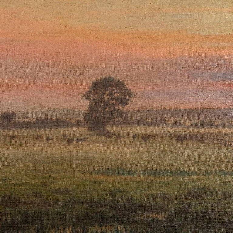 Antique Large Original Oil on Canvas Landscape Painting at Sunset Signed by Adol In Good Condition In Round Top, TX
