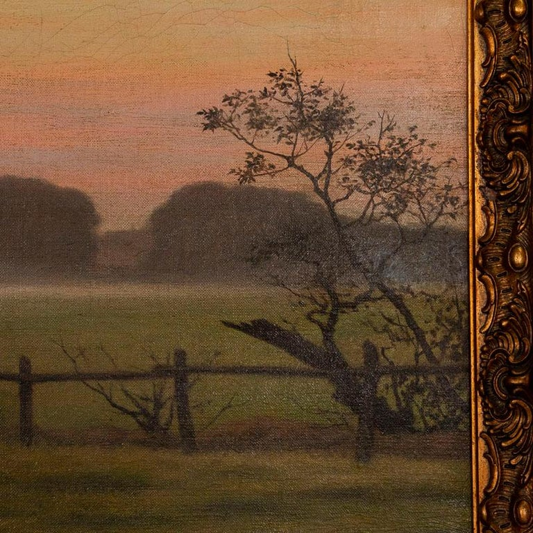 20th Century Antique Large Original Oil on Canvas Landscape Painting at Sunset Signed by Adol