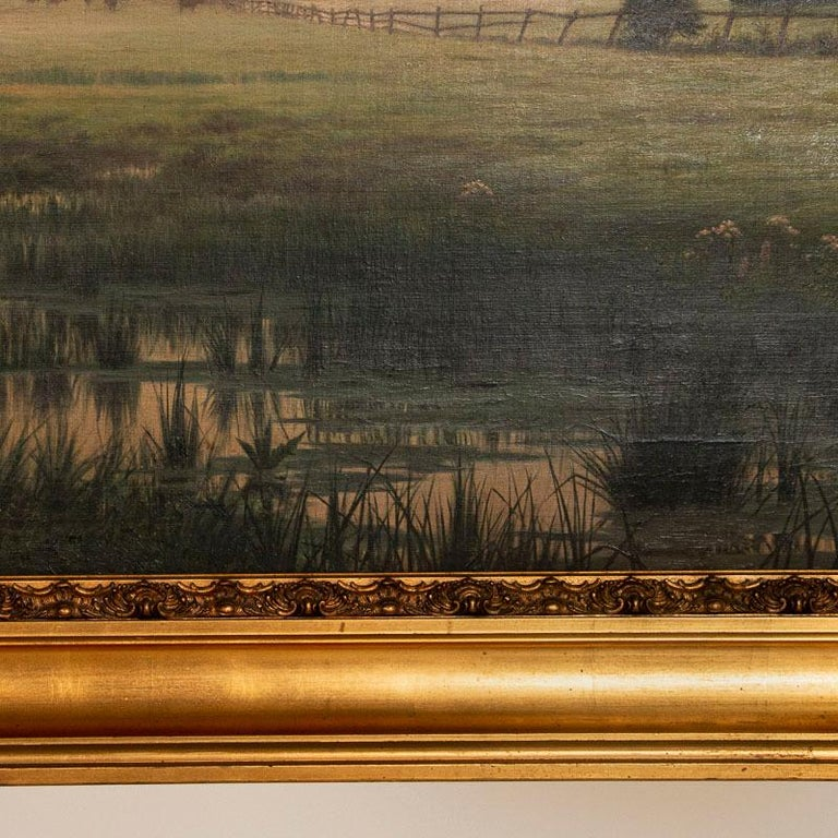 Antique Large Original Oil on Canvas Landscape Painting at Sunset Signed by Adol 1