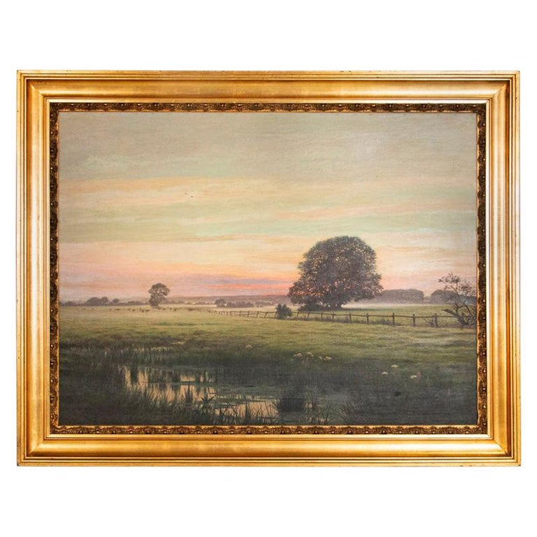 Antique Large Original Oil on Canvas Landscape Painting at Sunset Signed by Adol