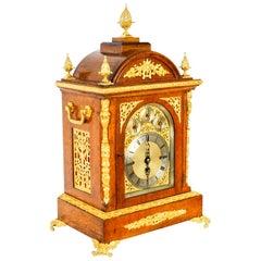 Antique Ormolu Mounted Oak Gilt Bronze Chiming Bracket Clock 19th Century