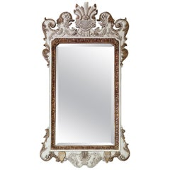 Antique Large Ovemantle Wall Mirror White and Gilt Frame, Early 20th Century
