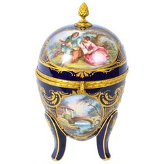 Antique Large Ovoid Ormolu Casket Sevres Porcelain Navy-Blue, 19th Century