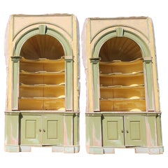 Antique Large Pair George III Style Architectural Built in Corner Cabinets c1900