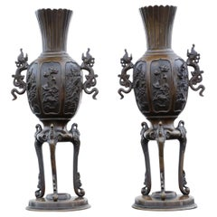 Antique Large Pair of Chinese Bronze Vases, 19th Century