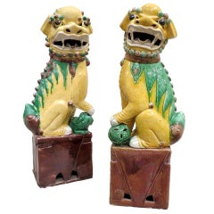 Antique Large Pair of Porcelain Polychrome Foo Dogs, Chinese, circa 1900