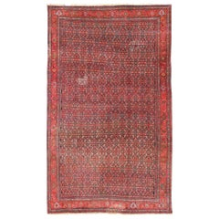Antique Large Persian Bidjar Rug with All-Over Design in Red and Blue