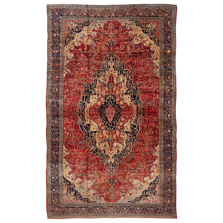 Antique Large Rug: Antique Large Persian Farahan Rug For Sale At 1stdibs