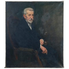 Antique Large Portrait Painting of a Gentleman Scholar, Artist Signed, c1890