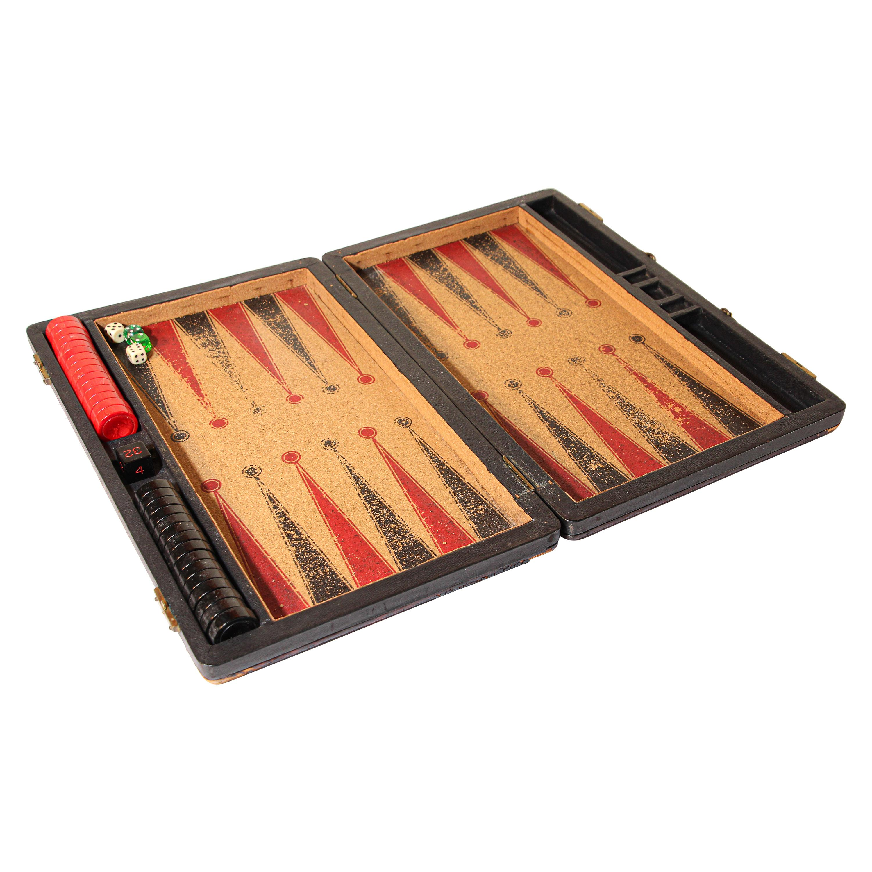 Antique Large Red and Black Backgammon Game with Bakelite Pieces