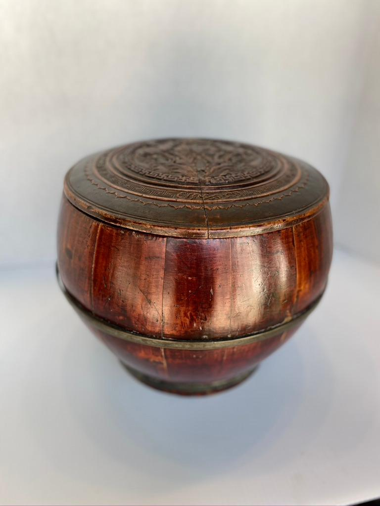 Chinese Export Antique Large Round Wooden Container Hand Carved Lid For Sale