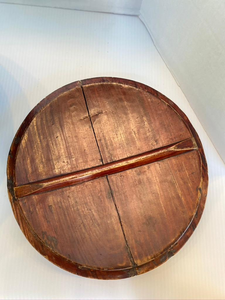 Chinese Antique Large Round Wooden Container Hand Carved Lid For Sale