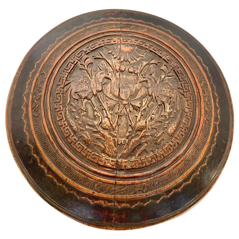Antique Large Round Wooden Container Hand Carved Lid For Sale