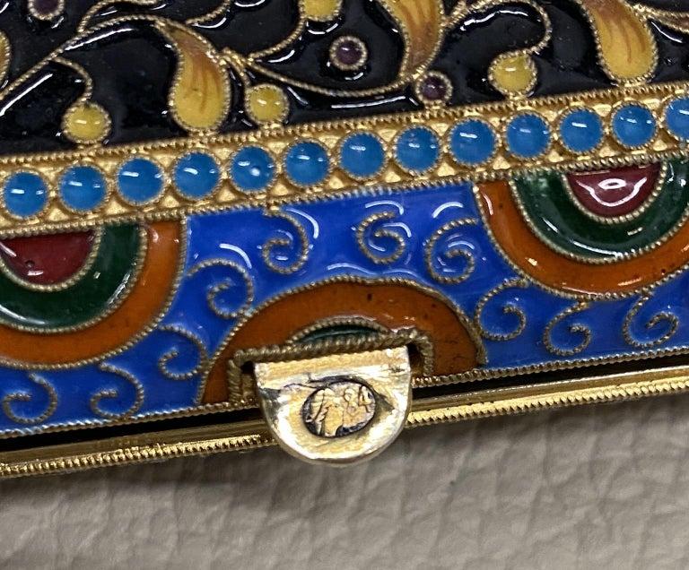 Antique Large Russian Silver 84 Gold Gilt Cloisonné Enamel Cigarette Case For Sale 6