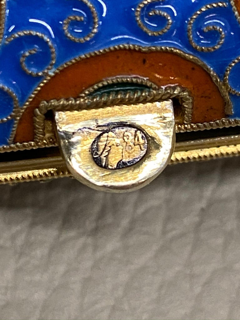 Antique Large Russian Silver 84 Gold Gilt Cloisonné Enamel Cigarette Case For Sale 7