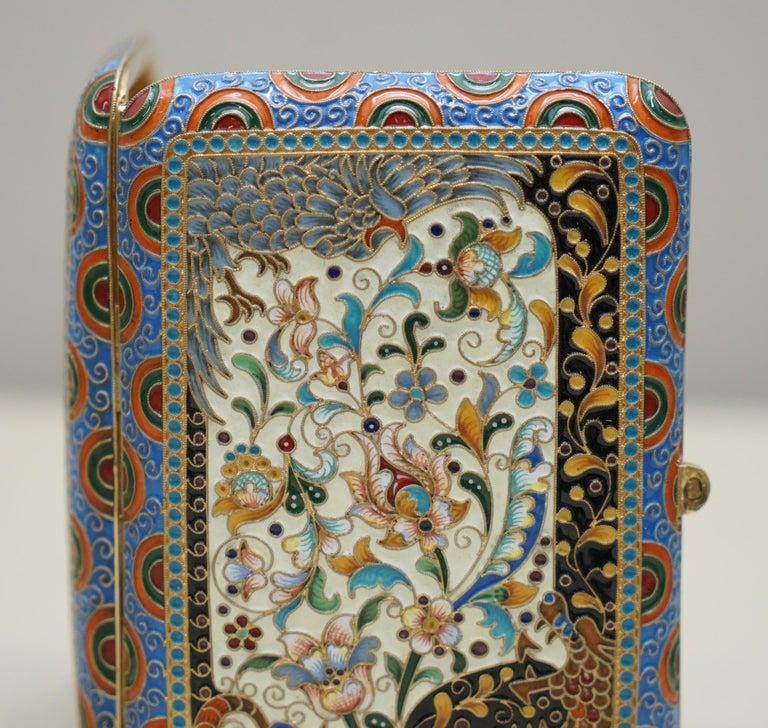 Victorian Antique Large Russian Silver 84 Gold Gilt Cloisonné Enamel Cigarette Case For Sale