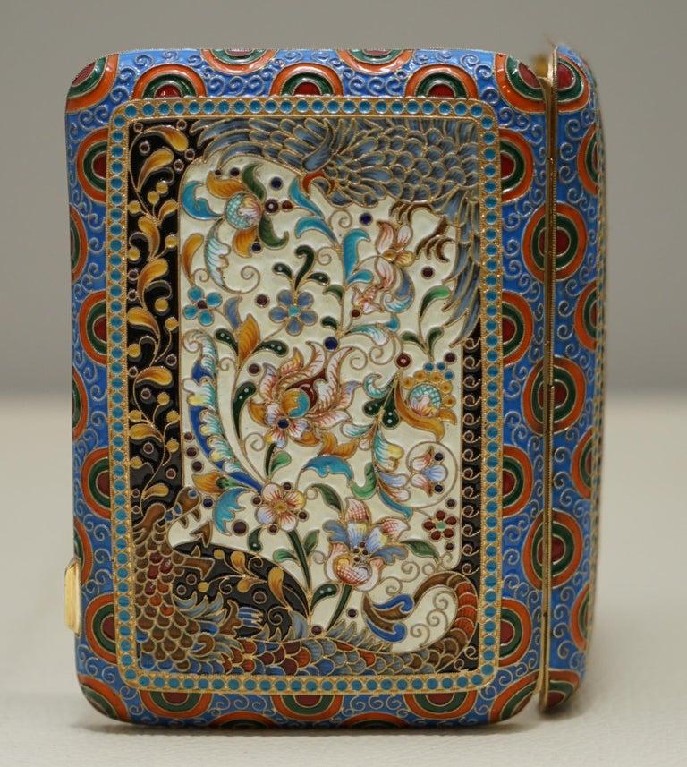 Women's or Men's Antique Large Russian Silver 84 Gold Gilt Cloisonné Enamel Cigarette Case For Sale