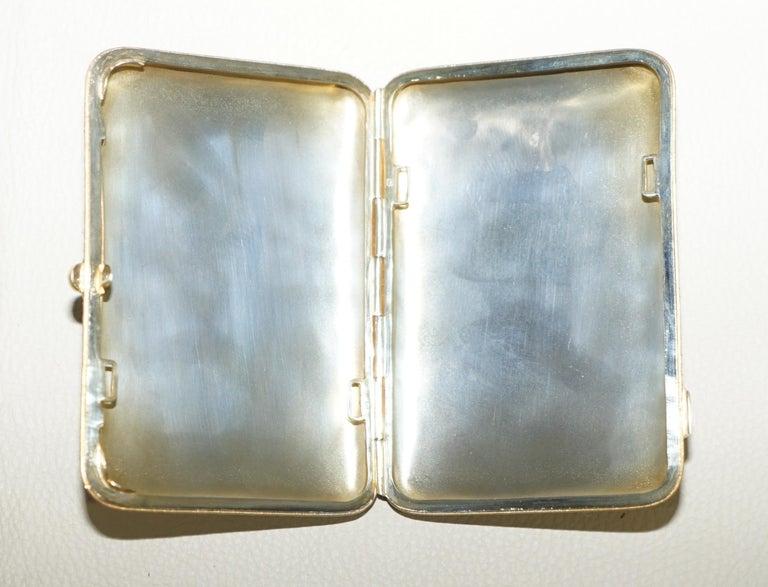 Antique Large Russian Silver 84 Gold Gilt Cloisonné Enamel Cigarette Case For Sale 3