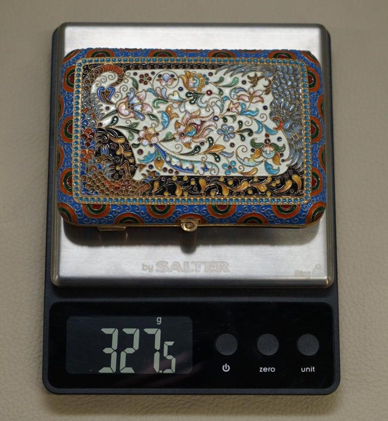 Antique Large Russian Silver 84 Gold Gilt Cloisonné Enamel Cigarette Case For Sale 4