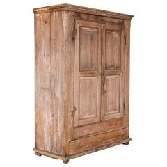 Antique Large Rustic Pine Armoire with Interior Hanging Options