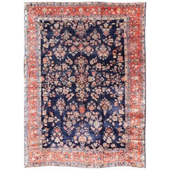 Antique Large Sarouk Faraghan Rug with Floral Pattern in Navy and Orange-Red