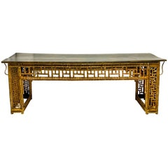Antique Large Scale Chinese Bamboo Console Table with Chippendale Styling