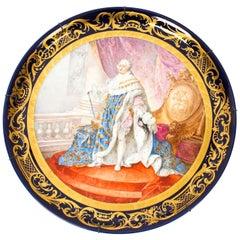 Antique Large Sevres Porcelain Charger Louis XV M.Rochette, 19th Crntury