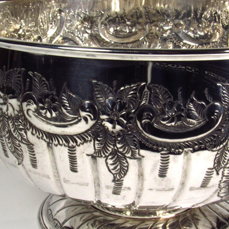 Large Sheffield silver plate footed punch bowl, early 20th century. Marked