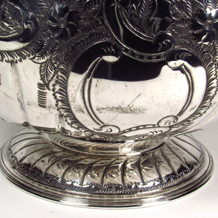English Antique Large Sheffield Silver Plate Footed Punch Bowl For Sale