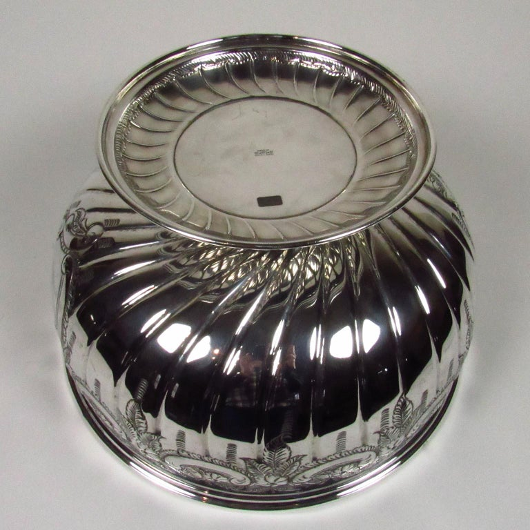 20th Century Antique Large Sheffield Silver Plate Footed Punch Bowl For Sale