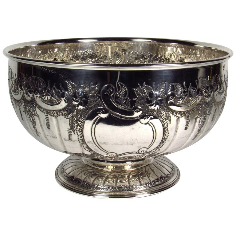 Antique Large Sheffield Silver Plate Footed Punch Bowl For Sale