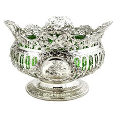 Antique Large Solid Silver and Glass Bowl Germany circa 1890