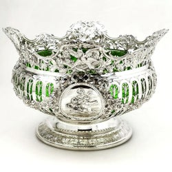 Antique Large Solid Silver & Glass Bowl Germany c. 1890